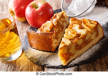 Sliced freshly baked apple pie close-up and juice. horizontal