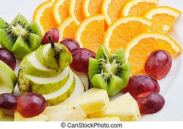 Sliced Fruit Orange Kiwi Apple Pineapple Pear