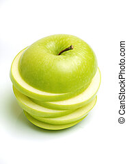 Sliced green apple on white bacground