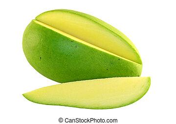 Sliced green mango on a white background