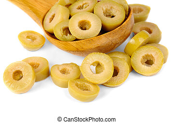 sliced green olives and wooden spoon isolated on the white background
