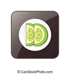 Sliced Green Tomato 3D Icon  and button