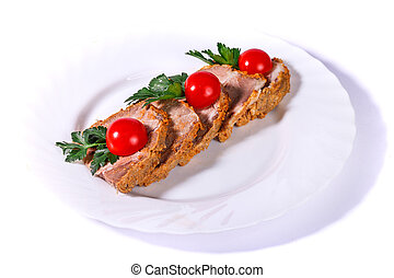 Sliced ground meat with cherry tomatoes