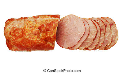 Sliced ham isolated
