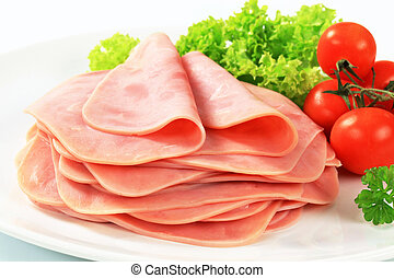 Sliced ham - Stack of thinly sliced ham
