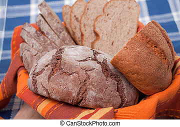 Sliced homemade brown bread.