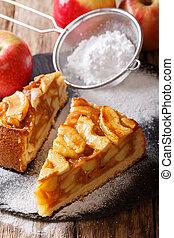 Sliced homemade warm apple pie close-up. vertical