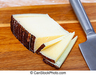 Sliced italian cured sheep cheese Pecorino - Sliced cured ...