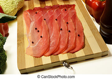 Sliced Italian speck
