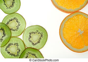 sliced kiwi fruit and orange on white background