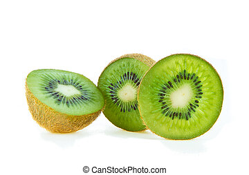 sliced kiwi fruit isolated on white