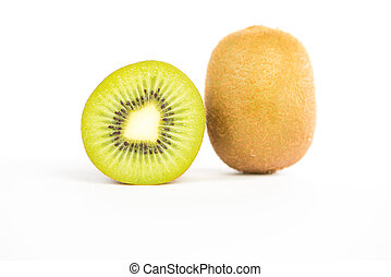 Sliced kiwi fruit on white