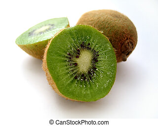 Sliced Kiwi - Sliced kiwi sitting on a white background.