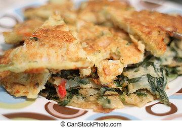 Sliced Korean scallion pancakes