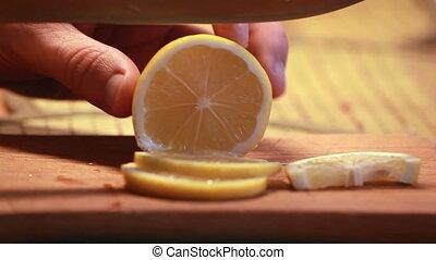 sliced lemon closeup