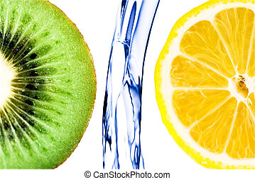 sliced lime with lemon splashing in water isolated