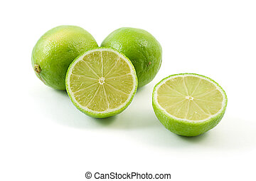 sliced limes, shot on white