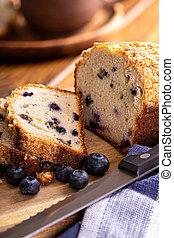 Sliced Loaf of Blueberry Streusel Bread - Closeup of a loaf ...