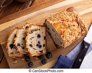 Sliced Loaf of Blueberry Streusel Bread - Overhead view of a...