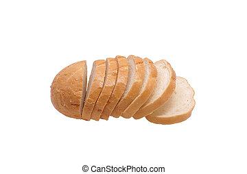 Sliced loaf of bread.