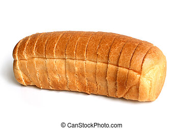 Sliced loaf of bread on white background