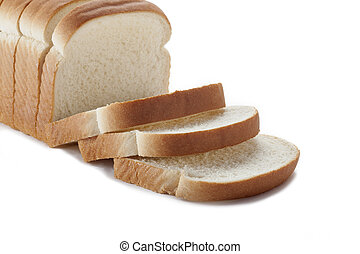 Sliced loaf of white bread isolated over white background.