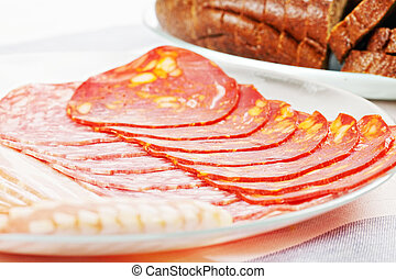 Sliced meat and bread