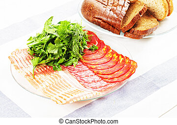 Sliced meat and greens on plate