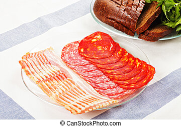 Sliced meat on plate