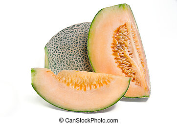 Sliced melon with seed on white (Other names are cantelope, cantaloup, honeydew, Crenshaw, casaba, Persian melon, and Santa Claus or Christmas melon)