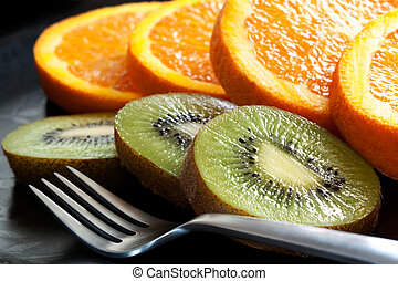 Sliced Orange and Kiwi Fruit