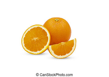 Sliced orange fruit isolated on white background with clipping path