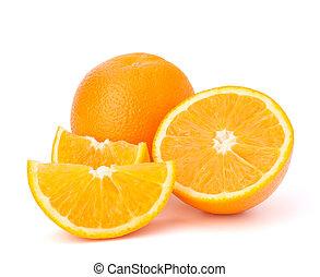 Sliced orange fruit segments isolated on white background -...
