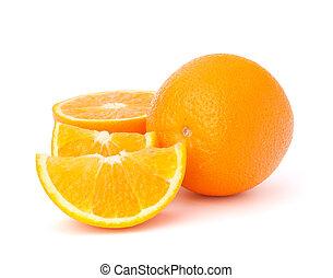 Sliced orange fruit segments isolated on white background