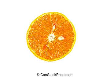 Sliced orange fruit segments on white background