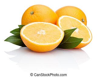 Sliced orange fruit with leaves isolated on white background