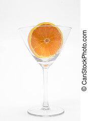Sliced Orange in a Martini Glass