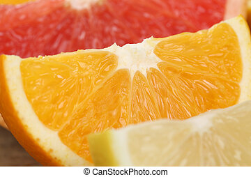 Sliced orange, lemon and grapefruit fruits