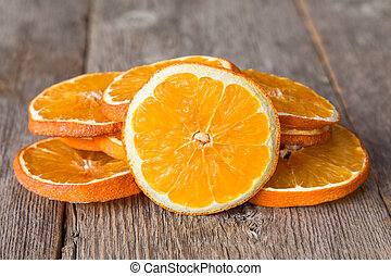 Sliced orange on the wooden background
