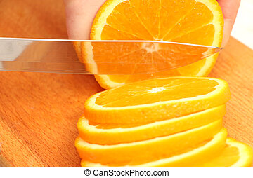 sliced oranges on a tree in circles until the end