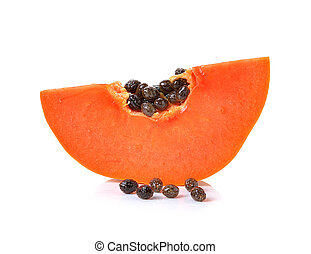 sliced papaya on a white background
