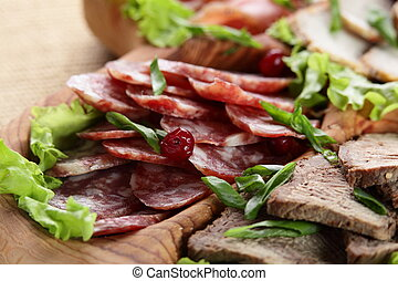 sliced peaces of meat