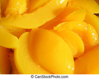 Close up of sliced peaches