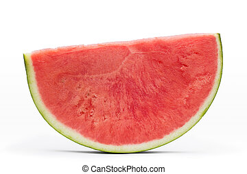 sliced piece of watermelon isolated on white background