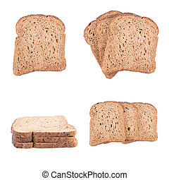sliced pieces of bread isolated on white background.