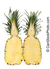 Sliced Pineapple isolated on a white background
