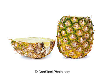 Sliced pineapple isolated on the white background