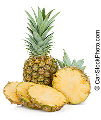 Sliced pineapple. Isolated on white background