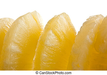sliced pineapple isolated on white background