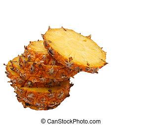 sliced ??pineapple on white background